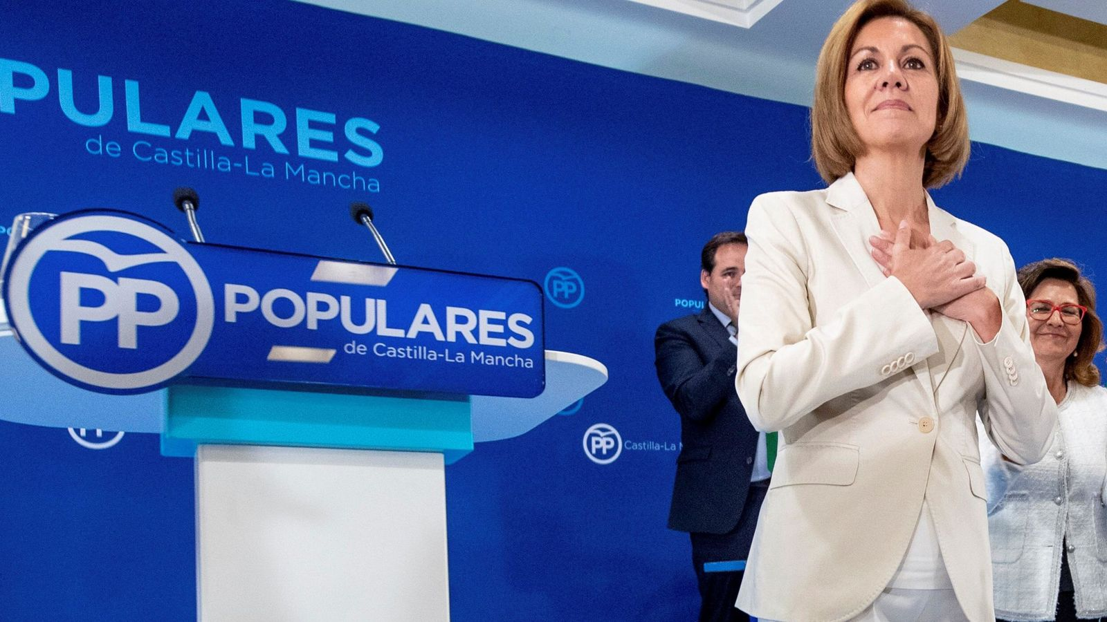 Foto: Cospedal durante el anuncio de su candidatura a las primarias del PP. (EFE)