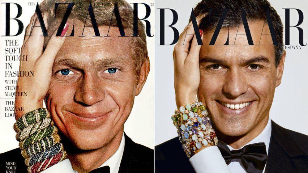 Foto: Portadas de Steve McQueen y Pedro Sánchez. (Harper's Bazaar España)