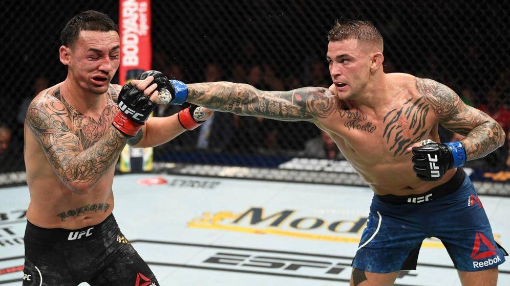 Foto: Dustin Poirier (d) se impuso a Max Holloway en UFC 236. (Foto: UFC)