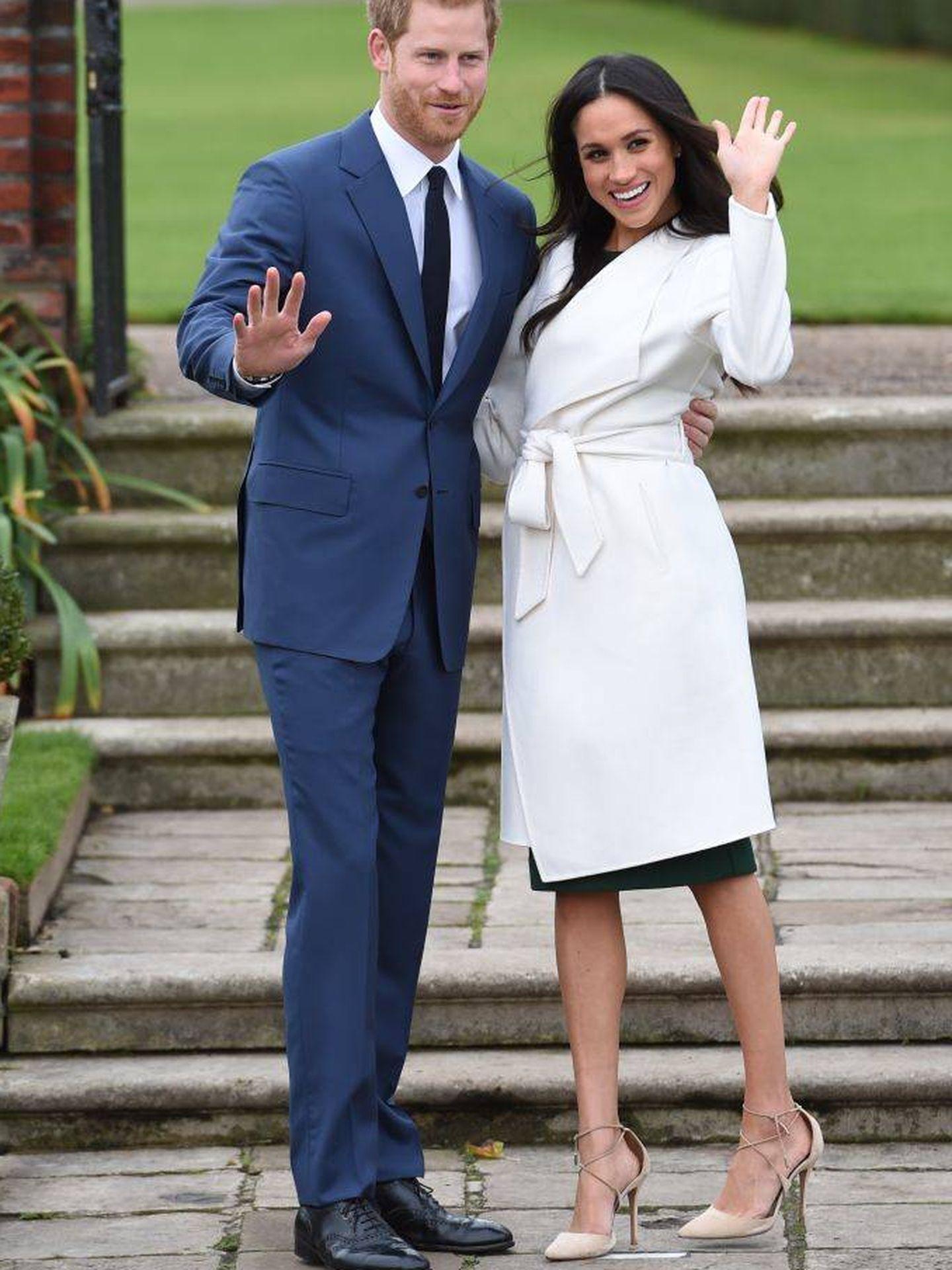 Meghan Markle y el príncipe Harry, el día del anuncio de su compromiso matrimonial. (Getty)