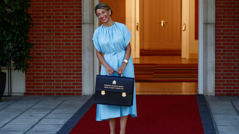 Yolanda Díaz, en el palacio de la Moncloa. (Reuters)