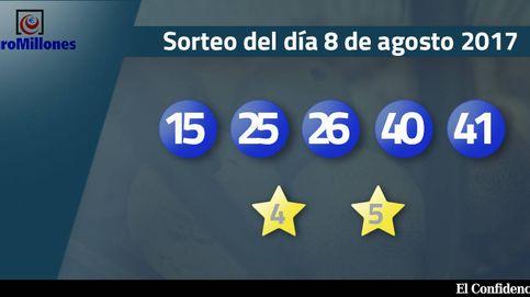 Resultados del sorteo del Euromillones del 8 de agosto de 2017: números 15, 25, 26, 40 y 41
