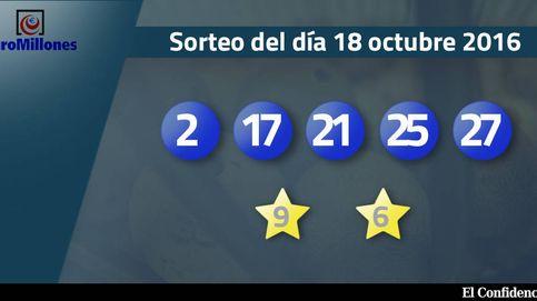 Resultados del Euromillones del 18 de octubre de 2016: números 2, 17, 21, 25, 27