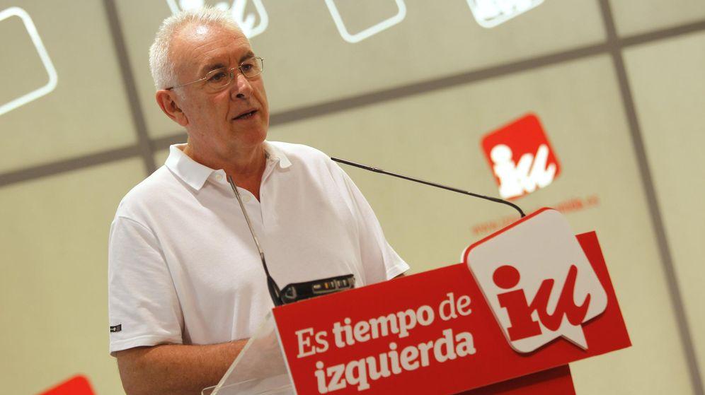 Foto: Cayo Lara, el pasado 5 de septiembre en rueda de prensa en la sede de IU federal, en la calle del Olimpo de Madrid. (EFE)