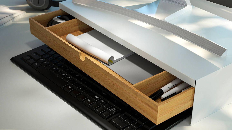 Esta base de Ikea es una práctica solución para escritorios. (Cortesía)
