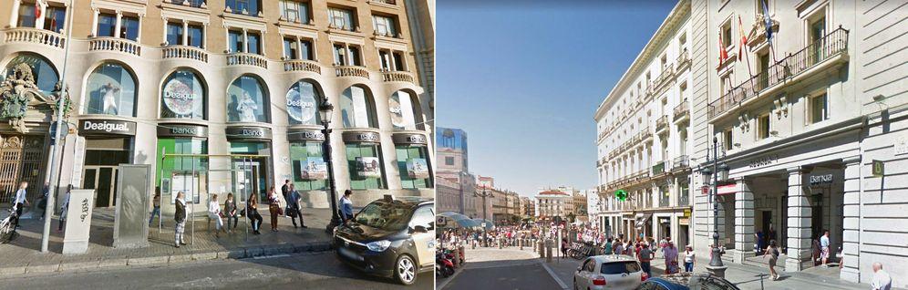 Foto: Haya Real Estate prepara la venta de los locales de Bankia en plaza de Catalunya (izq.) y Alcalá 1 (dcha.).