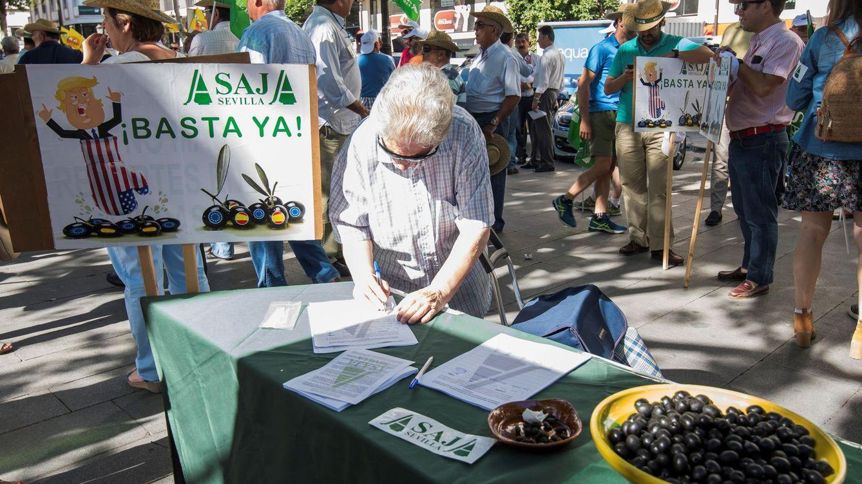 Foto: Protesta por la retirada de los aranceles de EEUU a la aceituna negra española. (EFE)