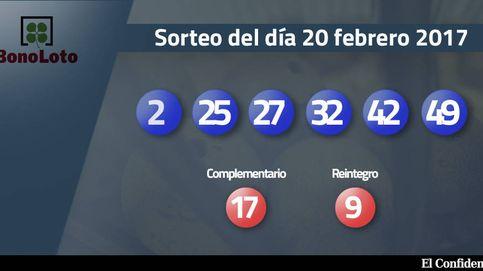 Resultados de la Bonoloto del sorteo del 20 febrero 2017: números 2, 25, 27, 32, 42, 49