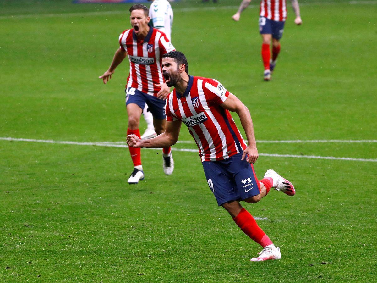 Foto: Diego Costa celebra su último gol con el Atlético de Madrid. (Reuters)