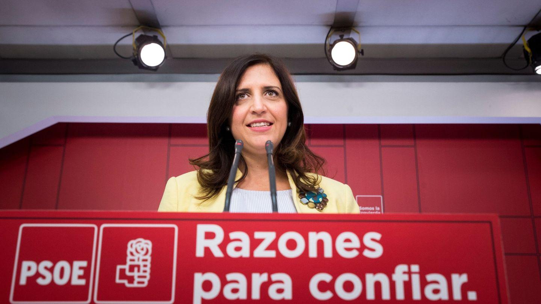 La portavoz del comité electoral del PSOE, Esther Peña, este lunes en Ferraz. (EFE)