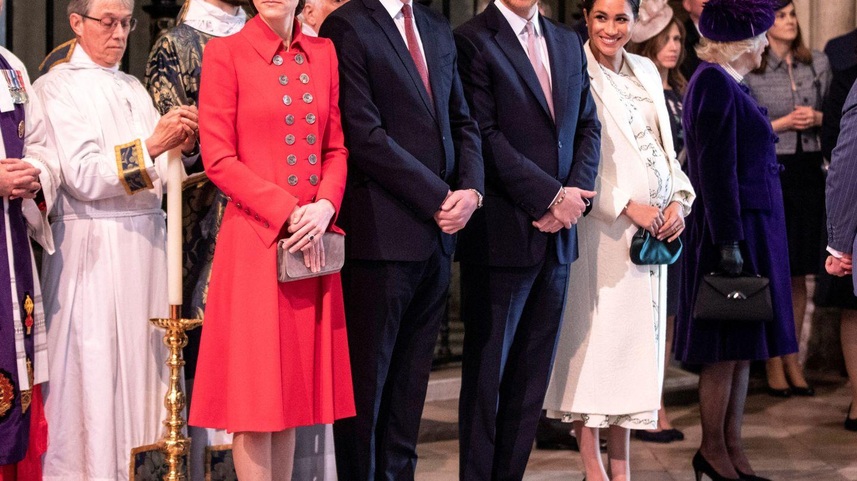 Los duques de Cambridge y los duques de Sussex, la última vez que coincidieron en público. (Reuters)