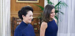 Post de La reina Letizia y Peng Liyuan, primera dama china, a juego en Zarzuela