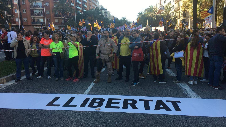 La presidenta de la Assemblea Nacional de Catalunya , Elisenda Paluzie, encabeza la marcha. (Marcos García Rey)
