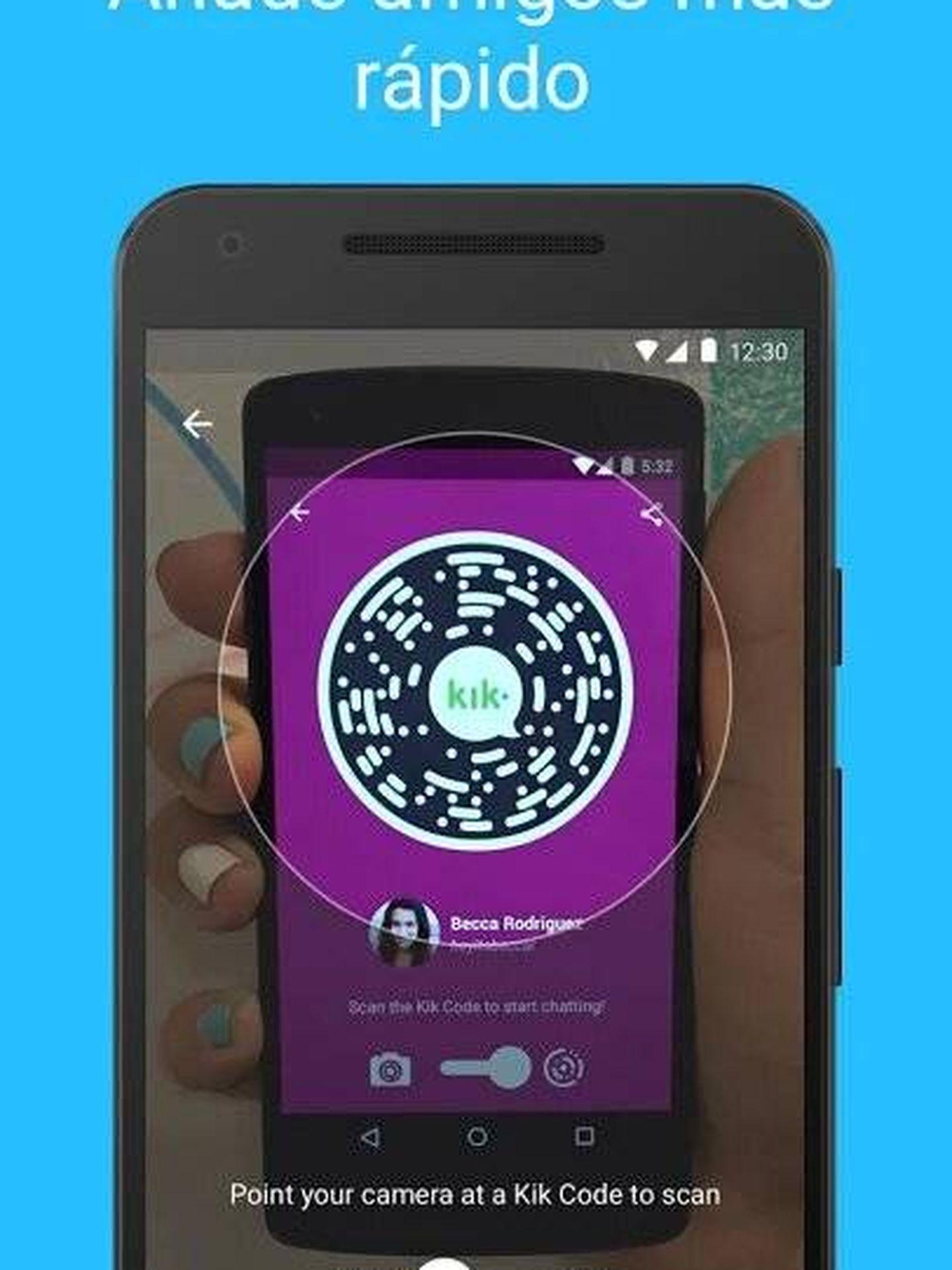 Imagen promocional de Kik, con el código que conecta usuarios. (Imagen: Play Store)