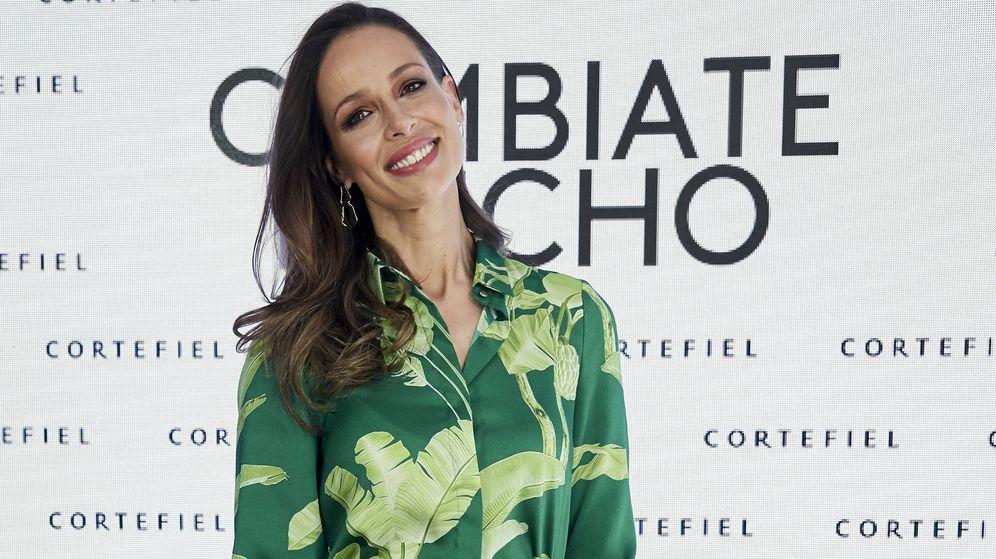 Foto: Eva González durante la presentación de la nueva campaña de Cortefiel. (Getty)
