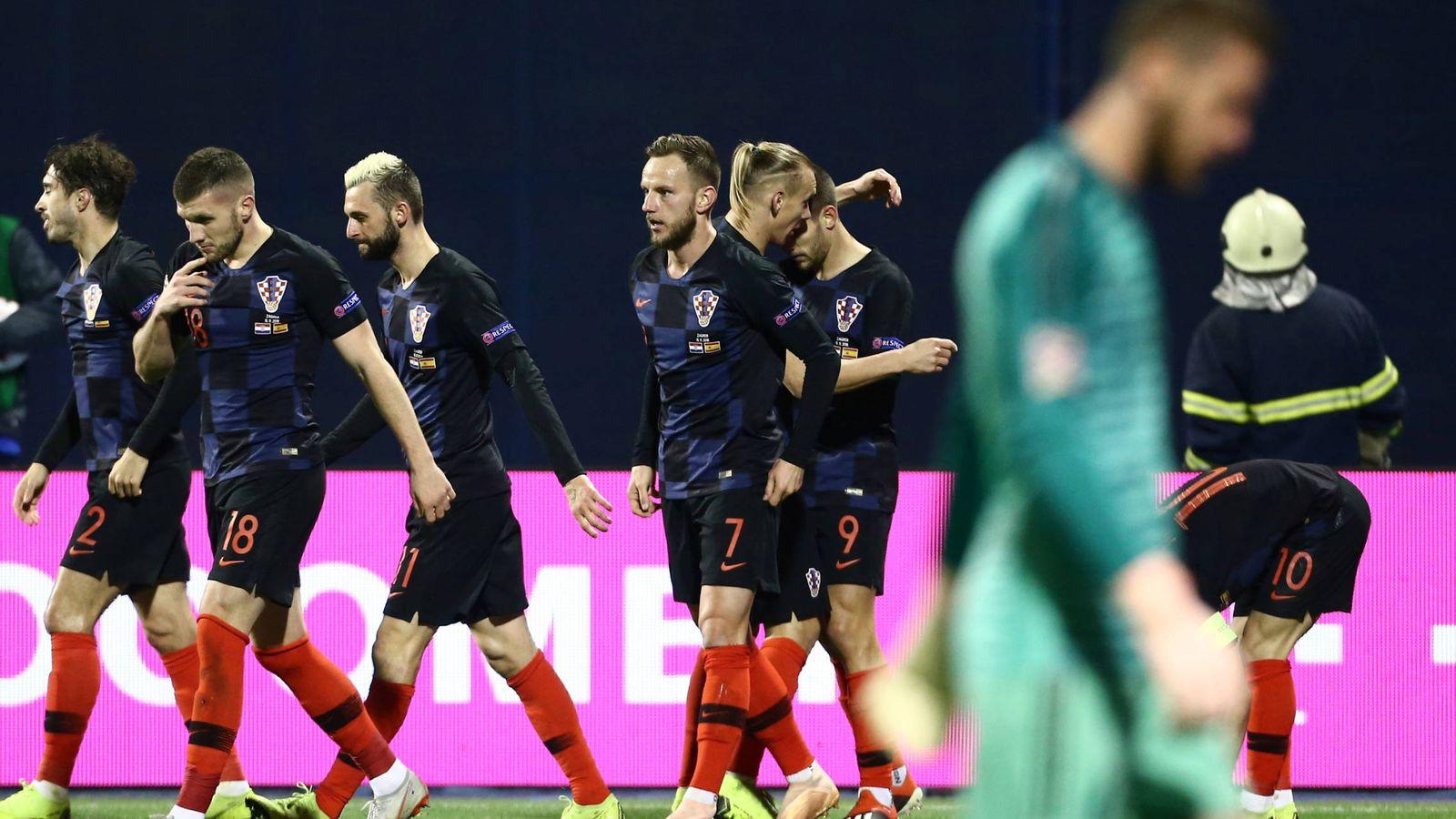 Foto: De Gea, tras un gol de Croacia. (Reuters)