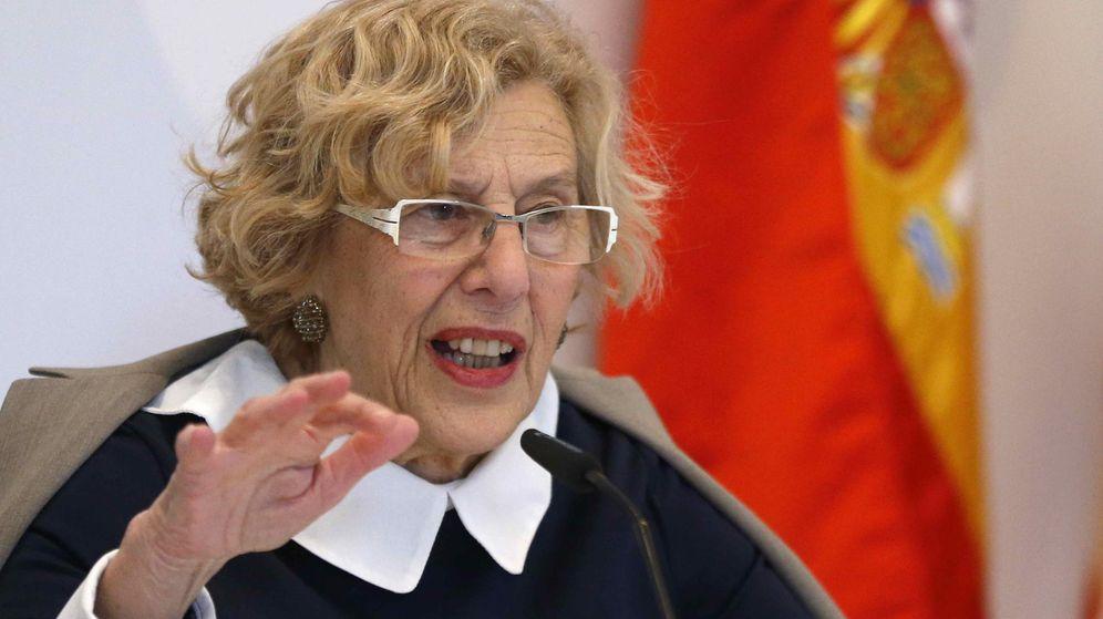 Foto: La alcaldesa de Madrid, Manuela Carmena, durante su intervención en un desayuno informativo organizado por la Cámara de Comercio de Estados Unidos en España. (EFE)