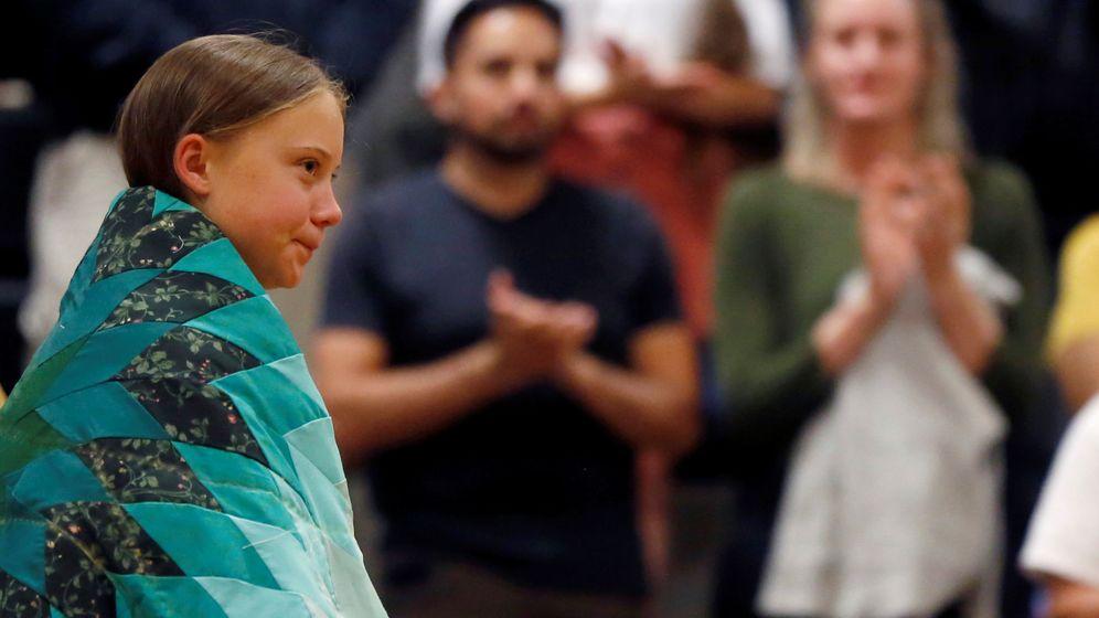 Foto: Greta Thunberg recibe aplausos en una charla en Dakota del Sur. (Reuters)
