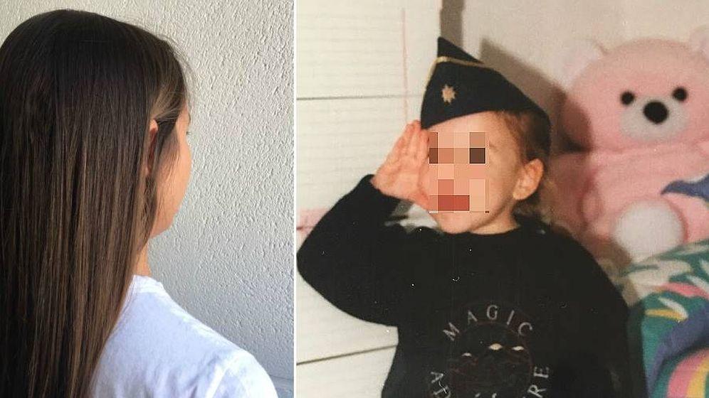Foto: Begoña de espaldas (i) y de niña, posando como militar (d)