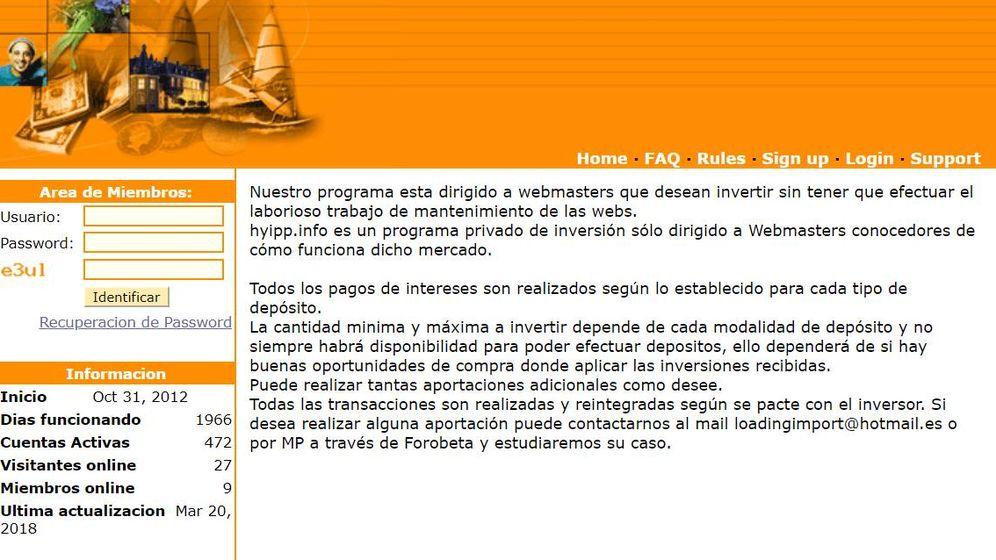 Foto: Imagen de apertura del sitio web de inversión Hyipp.info