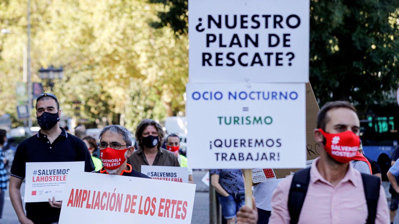Protesta contra el cierre del ocio nocturno. (EFE)