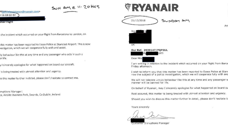 Las dos cartas que Ryanair envió a la mujer agredida: por email y correo postal