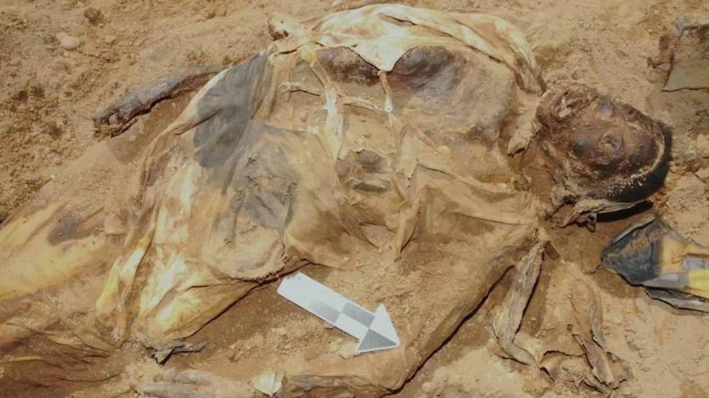 Foto: La momia del ataúd de hierro, en el momento de ser encontrada. (FOTO: PBS)