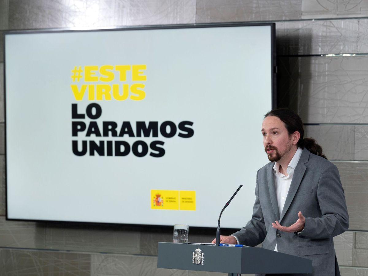 Foto: El vicepresidente y ministro de Derechos Sociales, Pablo Iglesias, durante la rueda de prensa ofrecida en el Palacio de la Moncloa. (EFE)