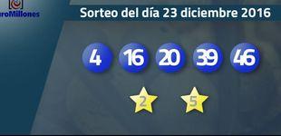 Post de Resultados del sorteo del Euromillones del 23 de diciembre de 2016