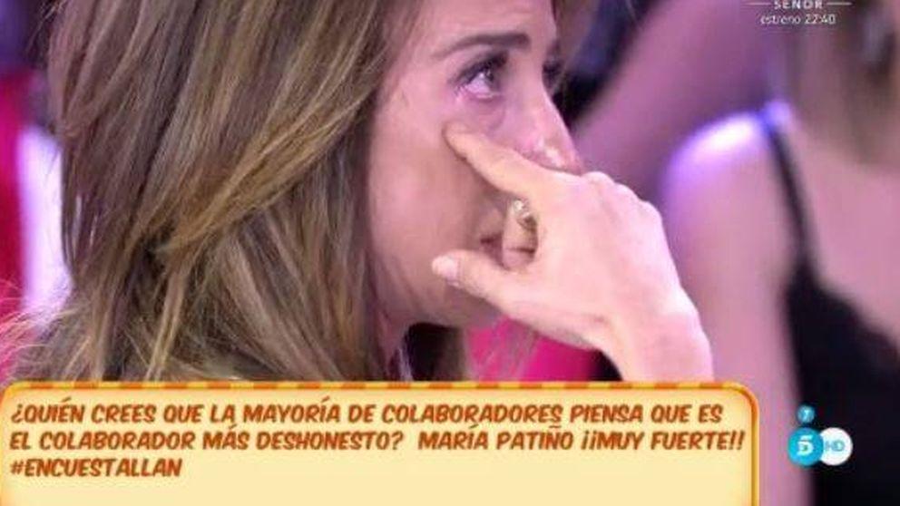 María Patiño, entre lágrimas,  al ser elegida la más deshonesta de 'Sálvame'