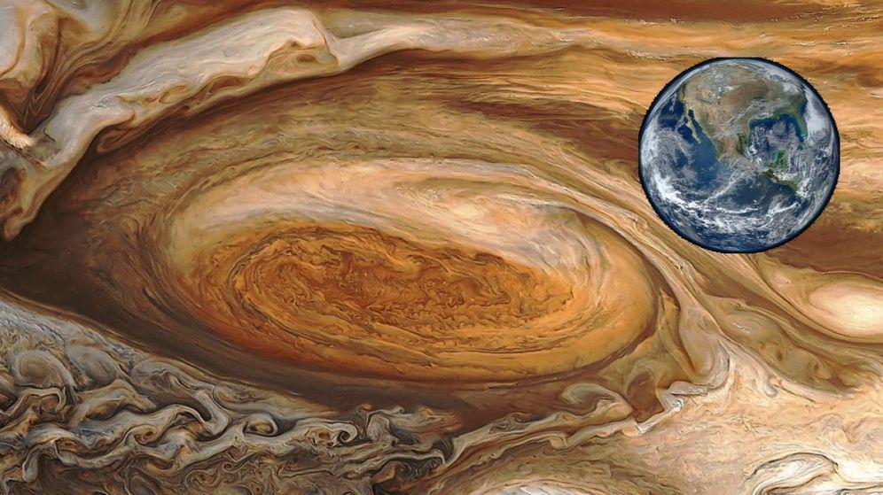 Foto: Gran Mancha Roja comparada con la Tierra