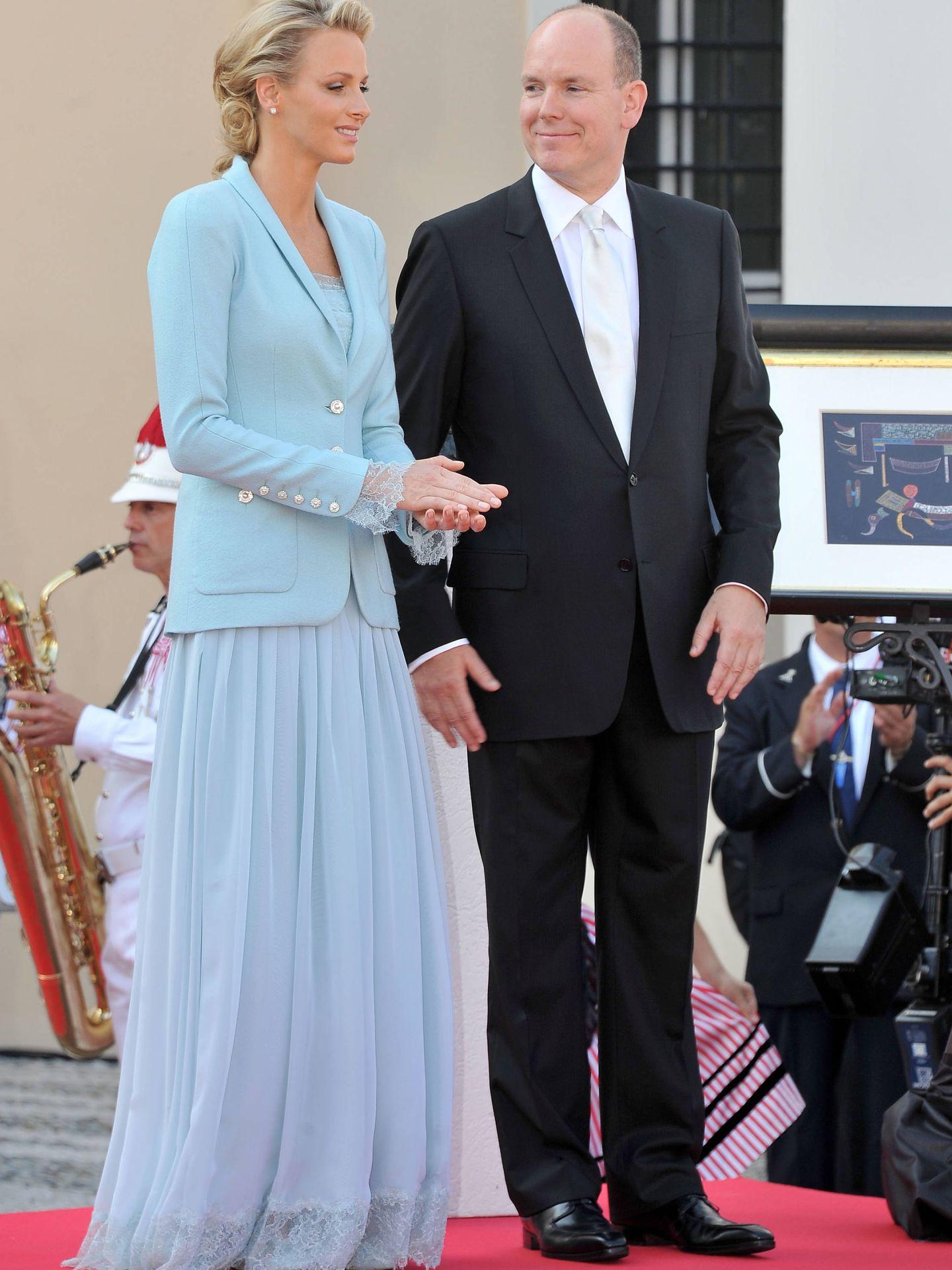 Alberto y Charlène de Mónaco, en su boda civil. (Getty)