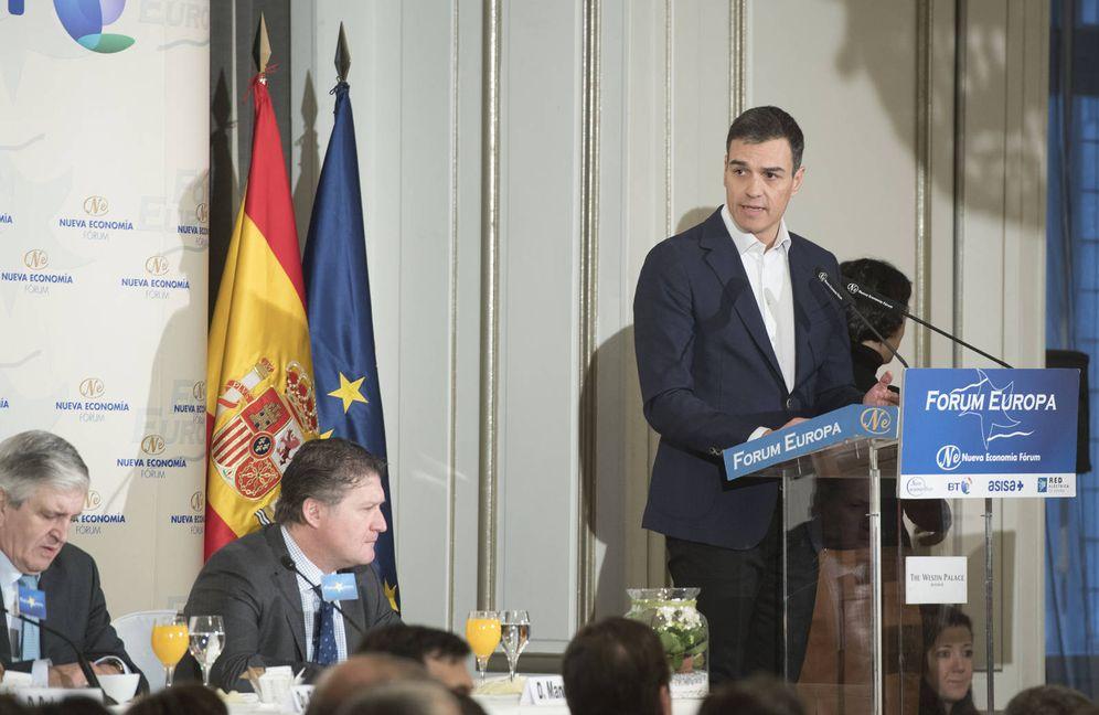 Foto: Pedro Sánchez, en su intervención en el desayuno informativo organizado por Nueva Economía Fórum este 9 de enero, en el hotel Palace de Madrid. (Borja Puig | PSOE)