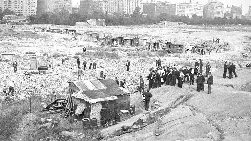 Foto: Chabolas en Nueva York durante la Gran Depresión.