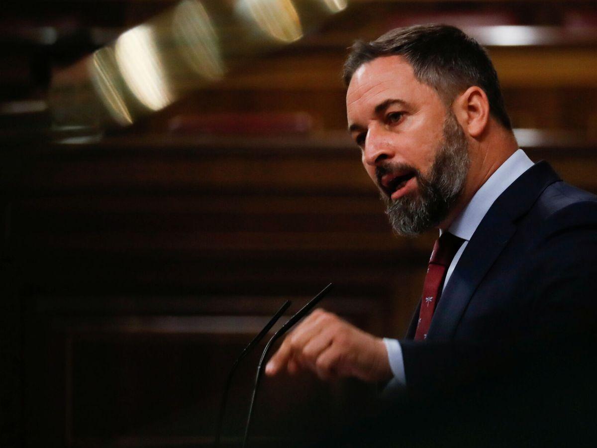 Foto: El líder de Vox, Santiago Abascal, en el Congreso de los Diputados. (Reuters)