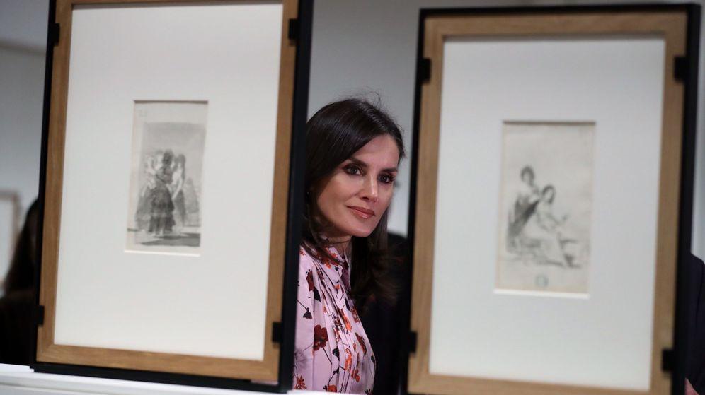 Foto: La reina Letizia, durante la inauguración de la exposición 'Solo la voluntad me sobra. Dibujos de Goya'. (EFE)