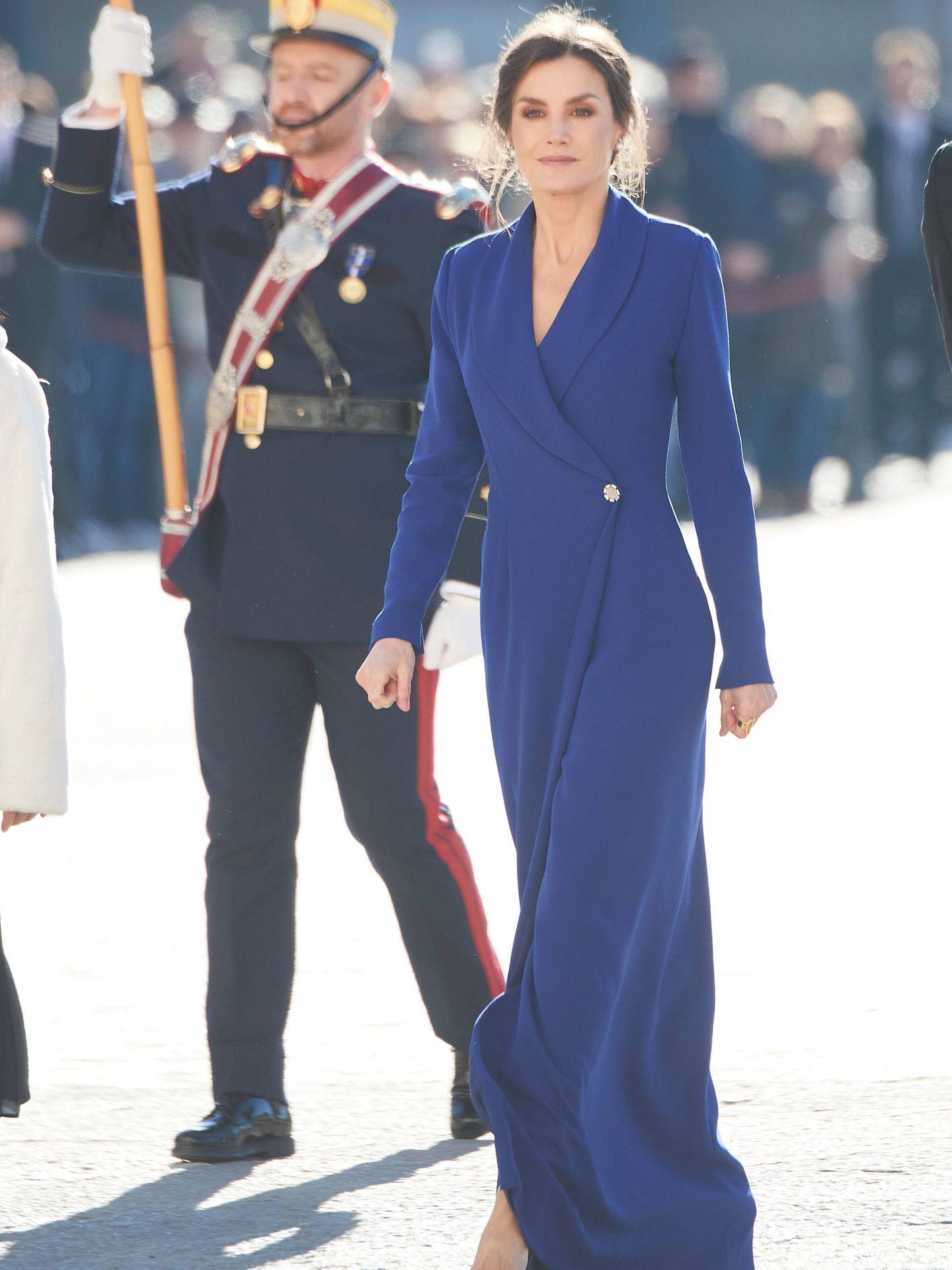 La reina Letizia, en la Pascua Militar, la última vez que lució un Felipe Varela. (Limited Pictures)