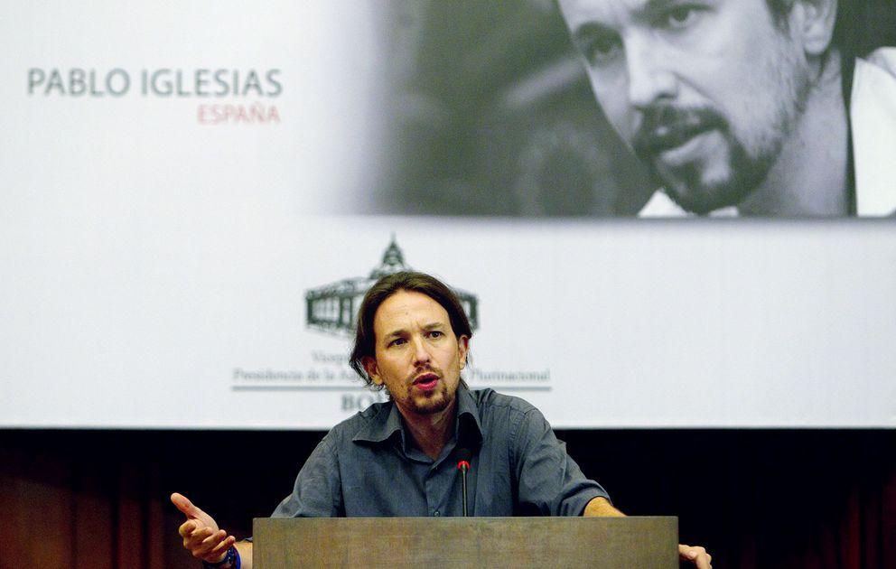 Foto: Pablo Iglesias interviene en el foro 'Pensando el mundo desde Bolivia', celebrado el pasado viernes en La Paz. (EFE)