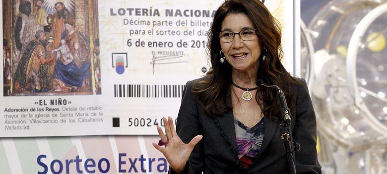 Foto: Inmaculada García, durante la rueda de prensa para presentar el Sorteo de 'El Niño' y su campaña publicitaria. (EFE)