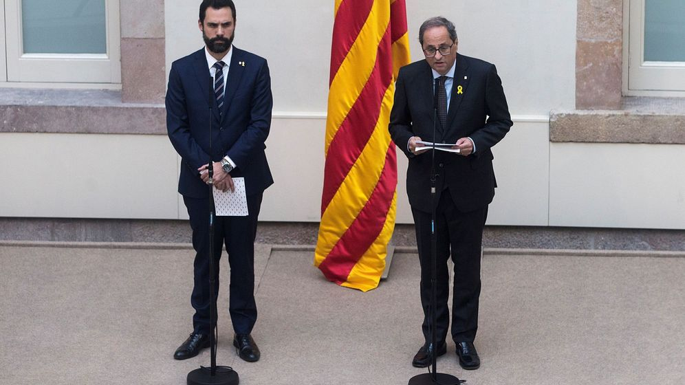 Foto: Declaración institucional de Torra y Torrent. (EFE)