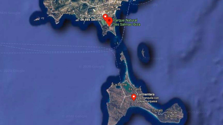 Ses Salines (Ibiza) está justo en frente de Formentera. (Google Maps)
