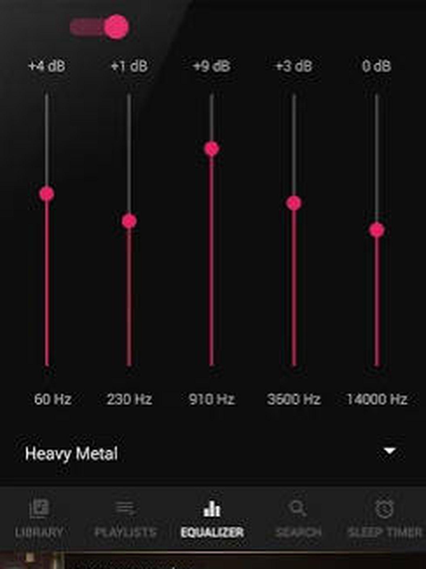 Imagen del ecualizador BlackPlayer Music Player. (Imagen: Play Store)
