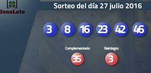 Post de Resultados del sorteo de la Bonoloto del 27 de julio de 2016: números 3, 8, 16, 23, 42, 46