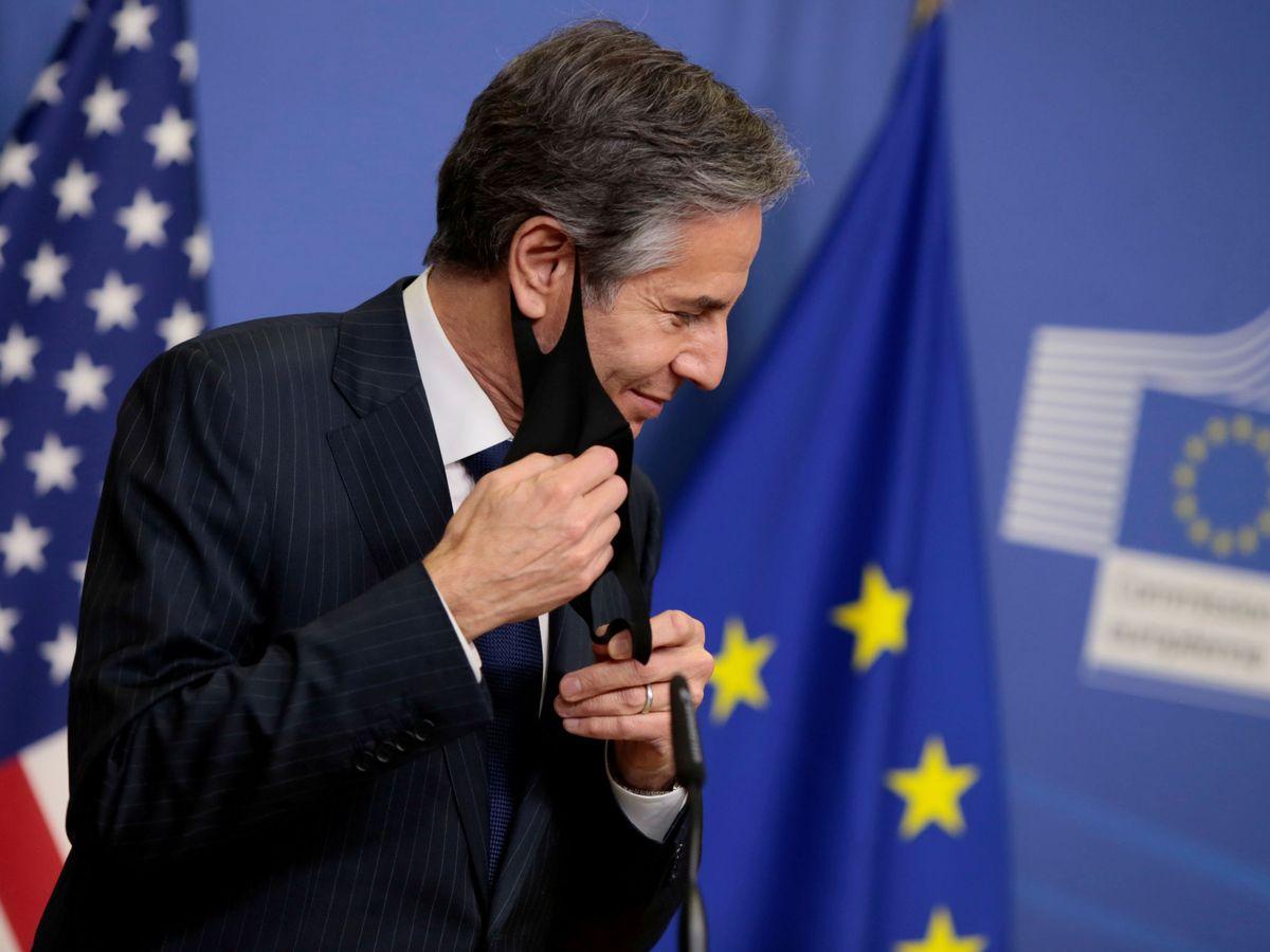 Foto: Antony Blinken durante su visita a las instituciones europeas en Bruselas. (Reuters)