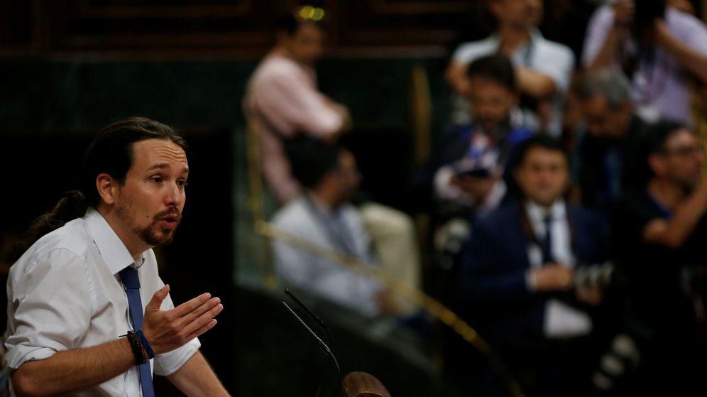 Foto: El líder de Podemos, Pablo Iglesias, durante una de sus intervenciones en la moción de censura. (Reuters)