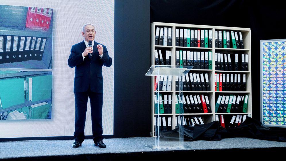 Foto: El primer ministro israelí, Benjamin Netanyahu, revela documentos que supuestamente muestran que Irán tiene un programa armamentístico nuclear secreto. (EFE)