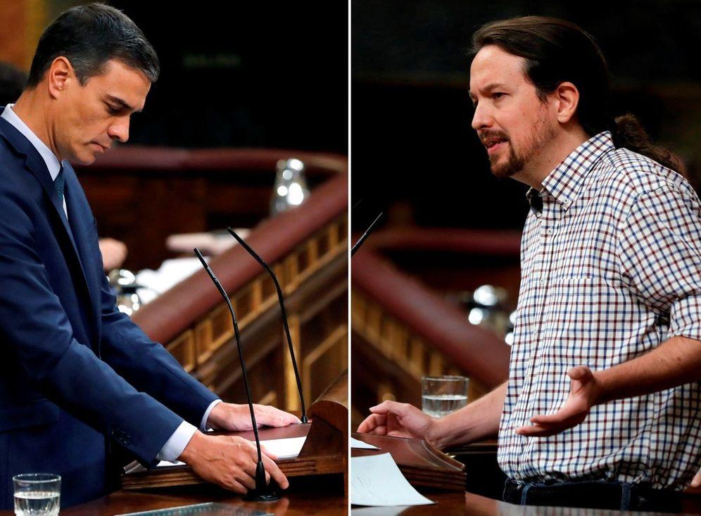 Foto: Pedro Sánchez y Pablo Iglesias, durante la investidura fallida del pasado 25 de julio en el Congreso. (EFE)