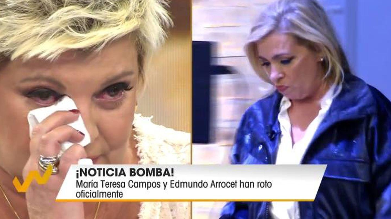 Terelu lee el comunicado con el que su madre ha anunciado su ruptura sentimental. (Telecinco)