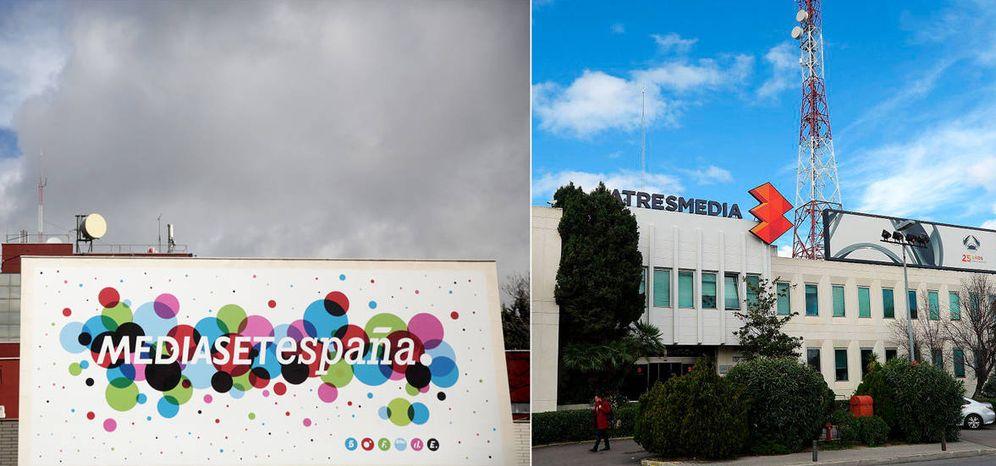 Foto: Exterior de las sedes de Mediaset España y Atresmedia