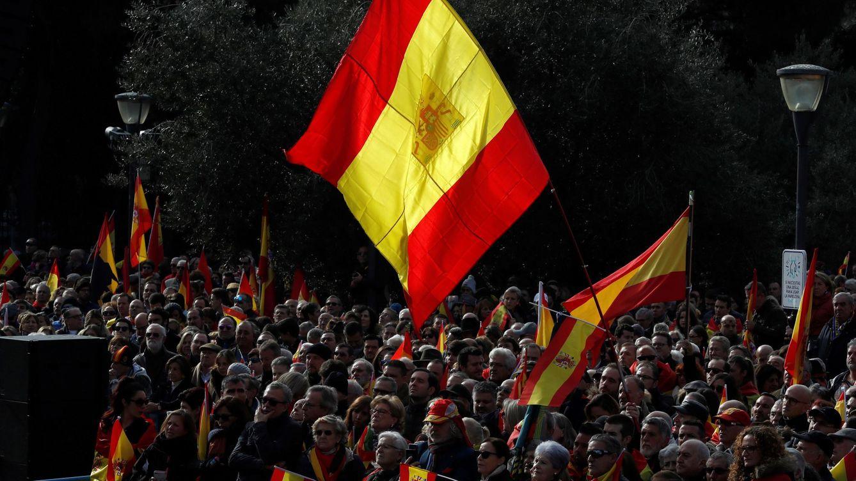 Foto: Manifestación convocada por la Fundación para la Defensa de la Nación Española (DENAES) en la Plaza de Colón. (EFE)